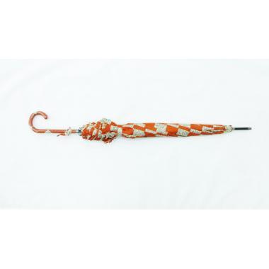 ж зонт-трость 2213-412 клетка оранж