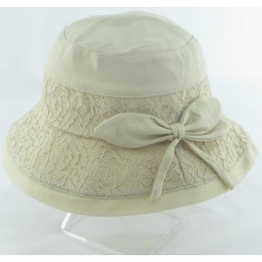 ж шляпа 2213-37 YF1721 ткань гипюр бант св.беж