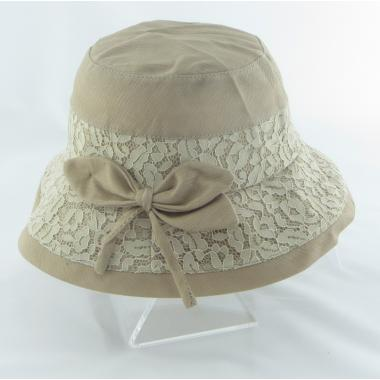 ж шляпа 2213-37 YF1721 ткань гипюр бант беж